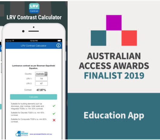 Image of LRV contrast app on a phone with the Australian Access Awards Finalist 2019 for Education App badge